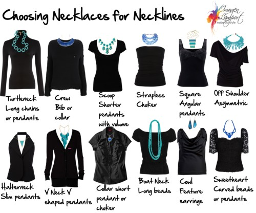 89bfa2e48f71e3 Crew Necks – Look best with short necklaces or bib styles. Scoop Necks –  Look best if you fill in the space with multiple strands of ...