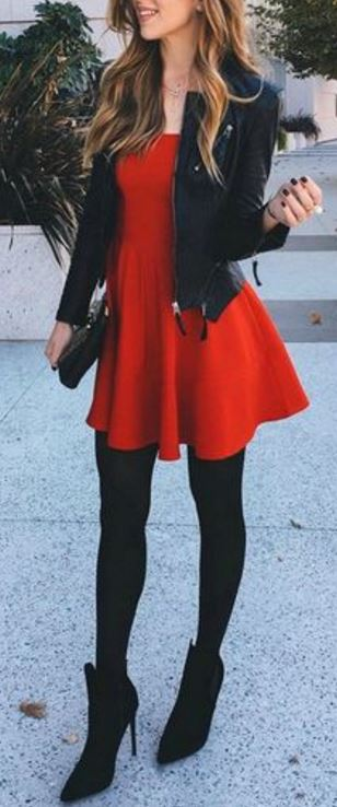 red-dress-with-leather-jacket-and-black-tights