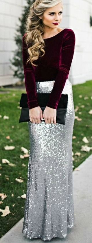 silver-maxi-skirt-red-velvet-top-lifestyle-image